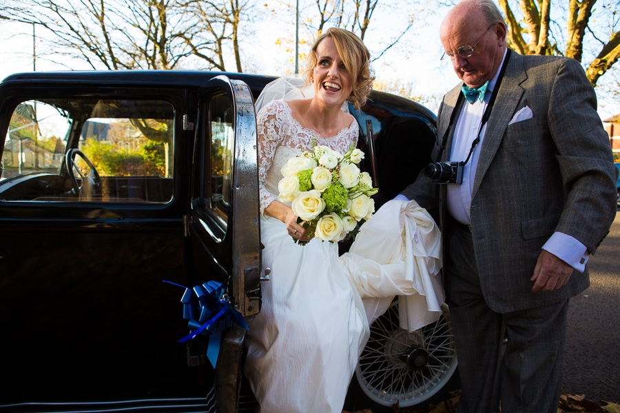 Bride arriving at St Margaretts Church Cardiff