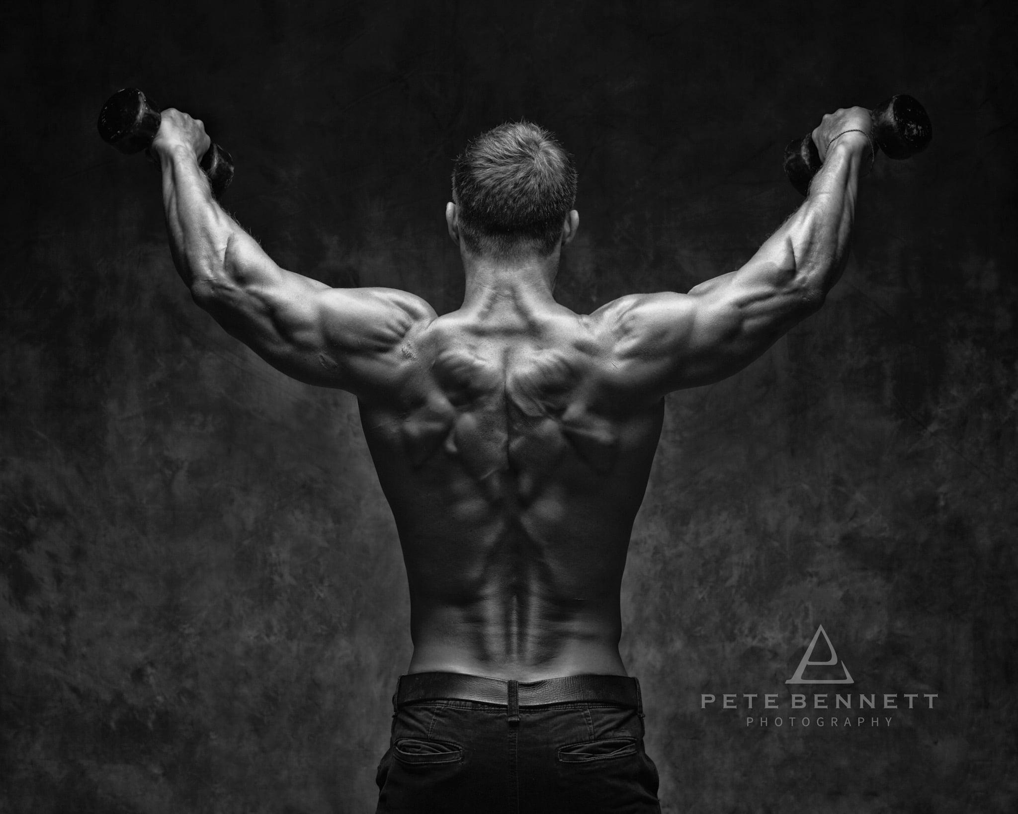 Dean Burchell fitness photo shoot shredded back photo