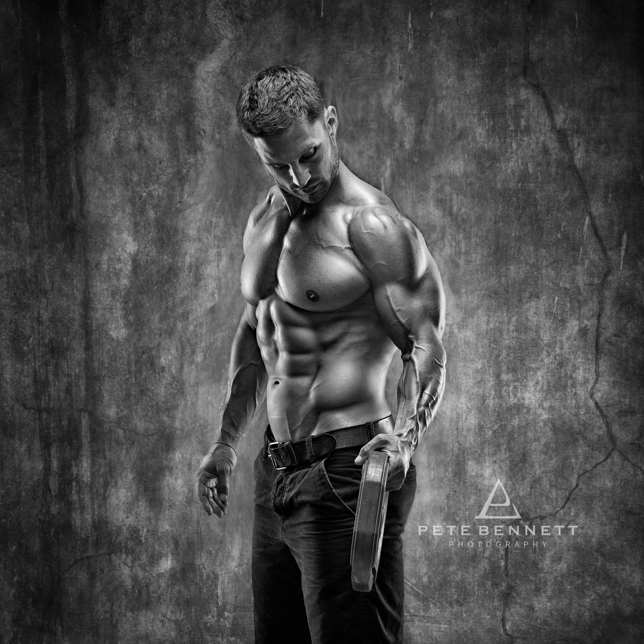 Dean Burchell fitness photo shoot black and white image